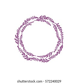 Hand drawn heather wreath made in vector. Beautiful floral design element.