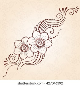 Hand drawn henna design with paisley flower. Indian mehndi sign. Floral paisley decoration. Henna tattoo ornament.