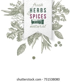 Hand drawn herbs and spices composition with paper emblem. Can be used for menu design, poster, banner, emblem, sticker or placard.