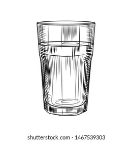 Hand drawn highball glass. Collin glass isolated on white background. Engraving style.  Vector illustration