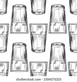 Hand drawn highball glass seamless pattern. Collin glass backdrop. Engraving style. Design for fabric, textile print, wrapping paper. Vector illustration