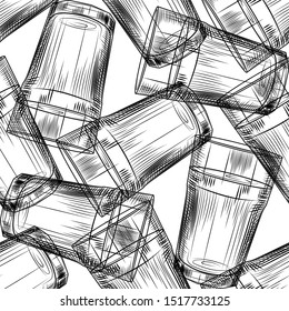 Hand drawn highball glass seamless pattern on white background. Collin glass backdrop. Engraving style. Design for menu, wrapping paper. Vector illustration