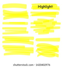 Hand drawn highlight marker lines set. Highlighter yellow strokes vector isolated on white background. Highlighter drawing design illustration