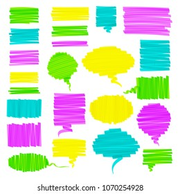 Hand drawn highlighter brush graphic set. Colorful hand drawings with scribbled square talk cloud, round speech bubble, and highlight sketchy rectangle box. Vector illustration for text memo design