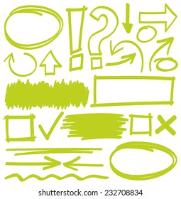 Hand drawn highlighter elements in green