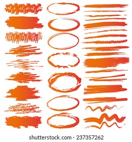 Hand drawn highlighter elements in orange and red