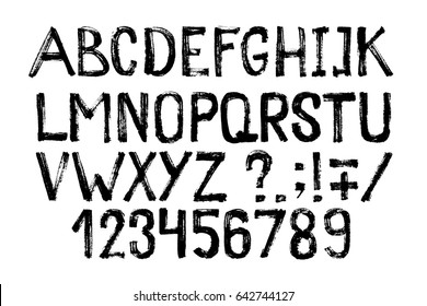 Hand drawn highlighter font. Modern lettering. Grunge style alphabet and figures. Vector illustration
