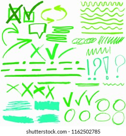 Hand drawn highlighter marker's set. Vector illustration EPS10