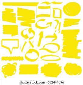 Hand drawn highlighter marker's set.
