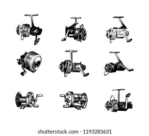 Hand drawn highly detailed fishing reel vector icon illustration