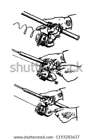 Hand Drawn Highly Detailed Fishing Reel Stock Vector Royalty Free