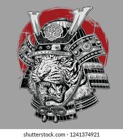 Hand drawn highly detailed Japanese tiger samurai vector illustration on grey ground