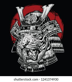 Hand drawn highly detailed Japanese tiger samurai vector illustration on black ground
