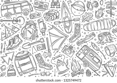 Hand drawn hiking and camping set doodle vector illustration background