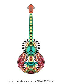 Hand drawn hippie acoustic guitar for anti stress colouring page. Pattern for coloring book. Made by trace from sketch. Illustration in zentangle style. Colorful variant.