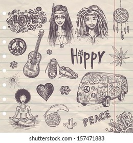 hand drawn hippie set with girl and guy, bus, guitar, love sign