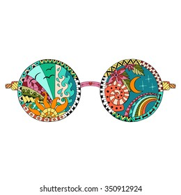 Hand drawn hippie sun glasses for anti stress coloring page. Pattern for coloring book. Made by trace from sketch.Illustration in zentangle style. Colorful variant. Hippie collection