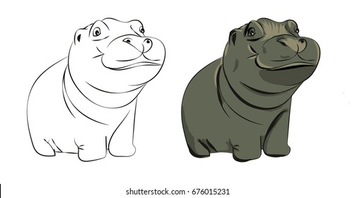 Hand drawn hippopotamus baby vector illustration - colored and black and white