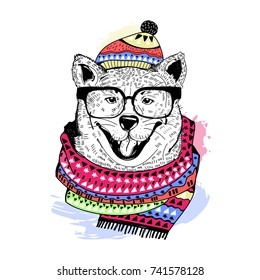 Hand drawn hipster dog in scarf and beanie. Colored vector illustration