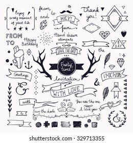 Hand drawn hipster doodle collection for wedding invitations, birthday, greeting cards. Cute design elements: frames, deer horns, ribbons, arrows, branches, lettering and other festive attributes.
