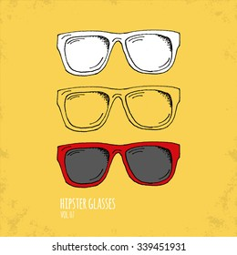 Hand Drawn Hipster Glasses Illustration - Vol. 07. - Hand Drawn Doodle Hipster Fashion Accessory Set - Infographic, Webdesign or Life Style Resource - Vector Illustration