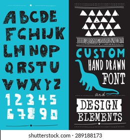 hand drawn hipster typeface and set of design elements