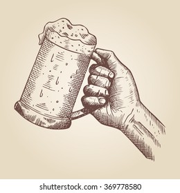 Hand drawn of a hand holding beer mug