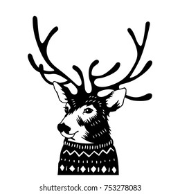 Hand drawn Holiday card in sweater. Vector illustration