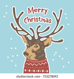 Hand drawn Holiday card in sweater. Merry Cristmas. Vector illustration