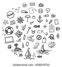 Hand drawn holiday elements on isolated background. Summer holidays. Signs and symbols. Freehand art. Black and white illustration