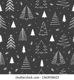Hand drawn holiday gifts wrapping seamless pattern with fir forest. Vector Christmas wrapper background.