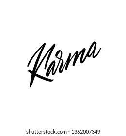 Hand drawn holiday lettering. Ink illustration. Modern brush calligraphy. Isolated on white background. Karma text. Vector illustration.