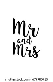 Hand drawn holiday lettering. Ink illustration. Modern brush calligraphy. Isolated on white background. Mr and mrs text.