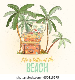 Hand drawn holiday travel card. Summer vector illustration of open suitcase with tennis rocket flip-flops, lifebuoy with palms can be used as invitation, postcard, banner or website decoration.