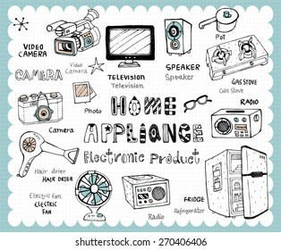 Hand drawn home appliance set -Vintage electronic products illustration with home and kitchen utensils related words in hand drawn style and on the grid background.