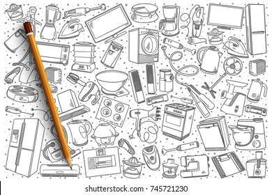 Hand drawn home appliances vector doodle set background