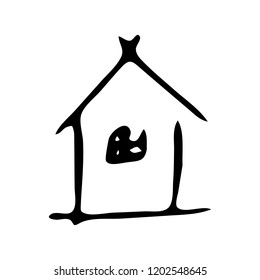 Hand Drawn home icon doodle. Sketch style icon. Decoration element. Isolated on white background. Flat design. Vector illustration.