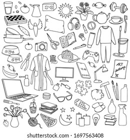 Hand drawn Home set. Vector illustration with doodle home elements