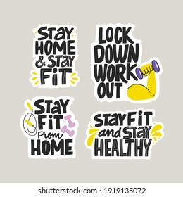 Hand drawn home workout quote.  Isolated vector inscriptions with dumbbells and a skipping rope.