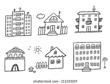Hand drawn homes