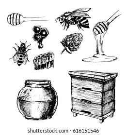 Hand drawn honey set with jar, hive and bee.
