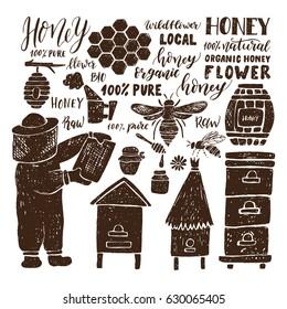 Hand drawn honey set.Beehive and honey. Honeycomb. Bottle with honey. Beekeeper with honey.