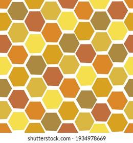 Hand drawn Honeycomb vector seamless pattern. Decorative geometric hexagonal honey-hued shapes background.