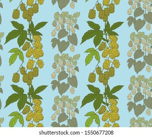 Hand drawn hop branch decorative background. Ethnic seamless pattern ornament. Vector pattern