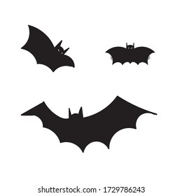 hand drawn Horror black bats group isolated on white vector Halloween background. Silhouettes of flying bats traditional Halloween symbols on white.doodle