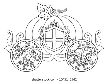 Hand drawn horse carriage of pumpkin with ornament isolated on white for a poster or card for the holiday Halloween or thanksgiving day and coloring book page for kids and adult.Vector illustration