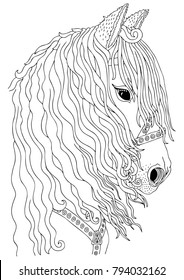 Hand drawn horse head. Sketch for anti-stress adult coloring book in zen-tangle style. Vector illustration for coloring page.