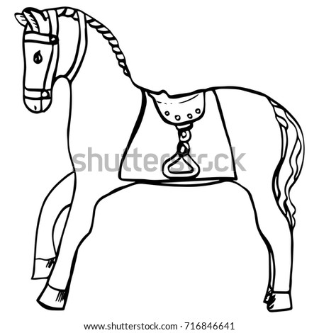 Hand Drawn Horse Saddle Harness Cartoon Stock Vector Royalty Free