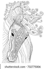 Hand drawn horse. Sketch for anti-stress adult coloring book in zen-tangle style. Vector illustration  for coloring page.