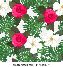 hand drawn hot pink camellia with tropical green monstera deliciosa leaf in seamless pattern on white background
